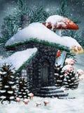 зима фе коттеджа бесплатная иллюстрация