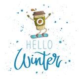 Зима цитаты здравствуйте! каллиграфия Стоковая Фотография RF