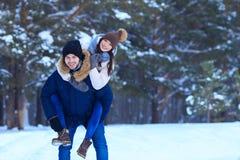 Зима человека и женщины идя в лес Стоковые Изображения