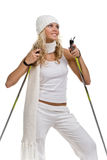 зима шарфа шлема девушки сексуальная белая Стоковое фото RF
