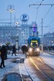 зима шторма квадрата ночи города Стоковое Изображение RF
