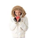 зима девушки чашки горячая Стоковые Фотографии RF