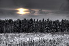 зима 2 заходов солнца Стоковое Изображение