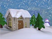 зима 2 коттеджей Стоковые Фото