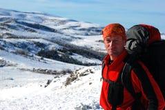 зима backpackers Стоковое Изображение RF