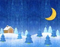 Зима landscapes ноча Стоковая Фотография RF