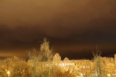 зима london города Город ночи snowbound стоковое изображение rf
