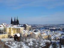 зима prague замока Стоковое Изображение