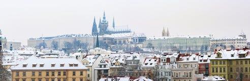 зима prague замока Стоковые Изображения