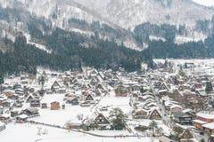 Зима Shirakawago при снег падая, Япония Стоковые Фотографии RF