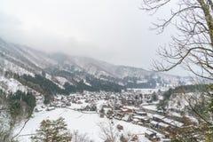 Зима Shirakawago при снег падая, Япония Стоковая Фотография RF