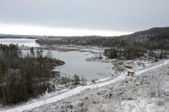 Зима Snowy в Швеции Стоковые Изображения
