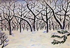 зима watercolours изображения пущи покрашенная рукой бесплатная иллюстрация