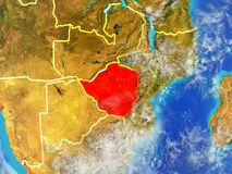 Зимбабве на земле от космоса иллюстрация штока