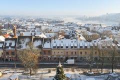 Зимнее время вида с воздуха Каунаса городское Стоковые Фото