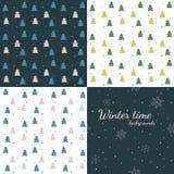Зимнее время - комплект безшовных предпосылок зимы Стоковые Фотографии RF