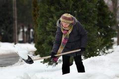 Зимнее время, снег извлекая от улицы Стоковые Изображения RF
