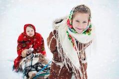 Зимнее время - счастливые каникулы на сельской местности Стоковые Фото