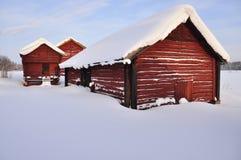 зимнее ландшафта амбаров старое стоковое фото rf