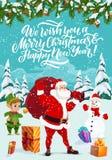 Зимние отдыхи, Санта и эльф, снеговик иллюстрация штока