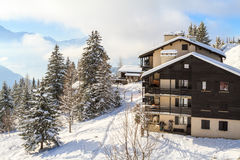 Зимние отдыхи в Швейцарии Стоковое Фото