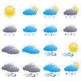 Зимний день значка погоды установленный Стоковые Изображения