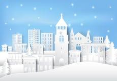 Зимний отдых и снег в городке города завертывают предпосылку в бумагу искусства chris иллюстрация вектора