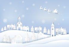 Зимний отдых Санта и олени с предпосылкой снежинки звезды абстрактной картины конструкции украшения рождества предпосылки темной  иллюстрация вектора