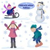 Зимний отдых детей Стоковая Фотография