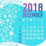 2018 зимних месяцев шаблона календаря Стоковое Изображение