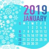 2019 зимних месяцев шаблона календаря Стоковая Фотография RF