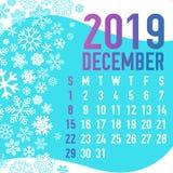 2019 зимних месяцев шаблона календаря Стоковая Фотография