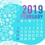 2019 зимних месяцев шаблона календаря Стоковые Фотографии RF