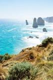 Злаковик и кусты на 12 Apostels на большой дороге океана, Виктория, Австралия, вертикальная Стоковые Изображения