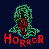Злая голова демона с сорванной стороной также вектор иллюстрации притяжки corel Стоковое Фото