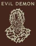 Злая голова демона с страшной стороной также вектор иллюстрации притяжки corel Стоковое Изображение RF
