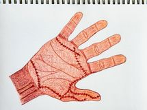 Злая рука, рука нарисованный деревянный цвет рисовала на предпосылке белой бумаги, концепции хеллоуина стоковые фото