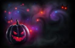 Злая тыква черноты стороны на мистическом красном и фиолетовом фоне с волшебными светами и сычом наблюдает в тумане Плакат хеллоу иллюстрация штока
