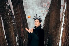 Злой ферзь с отравленным Яблоком в стране чудес зимы стоковое фото