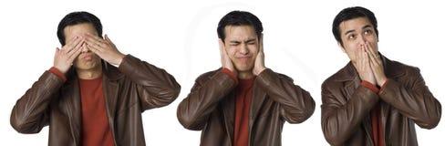 зло слышит никак для того чтобы увидеть для того чтобы поговорить Стоковые Фотографии RF