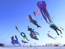 Змеи воздушного шара на пляже Стоковые Изображения