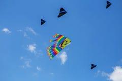 Змеи летая в голубое небо Змеи различных форм Стоковое фото RF