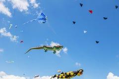 Змеи летая в голубое небо Змеи различных форм Стоковое Изображение