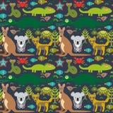 Змейка Австралии животных, черепаха, крокодил, alliagtor, кенгуру, динго Безшовная картина на темной предпосылке вектор иллюстрация вектора