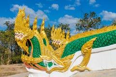 Змейка дракона Naga в виске Wat в Таиланде Стоковая Фотография RF
