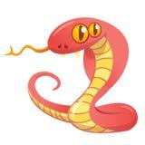 Змейка красного цвета шаржа Иллюстрация вектора значка кобры стоковые изображения