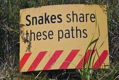 Змейки делят предупредительный знак этих путей стоковое изображение