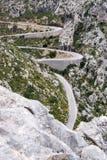 Змейчатое calobra направление sa дороги, majorca Стоковое Изображение RF