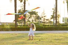 змей девушки летания немногая Стоковые Фотографии RF