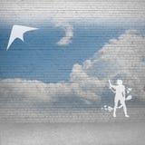 Змей девушки и летания Стоковые Изображения